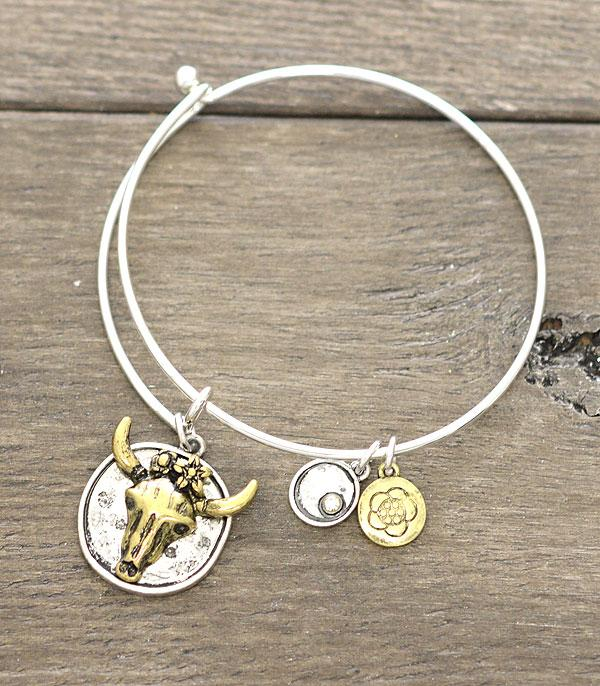 New Arrival :: Wholesale Western Flower Bull Charm Bangle