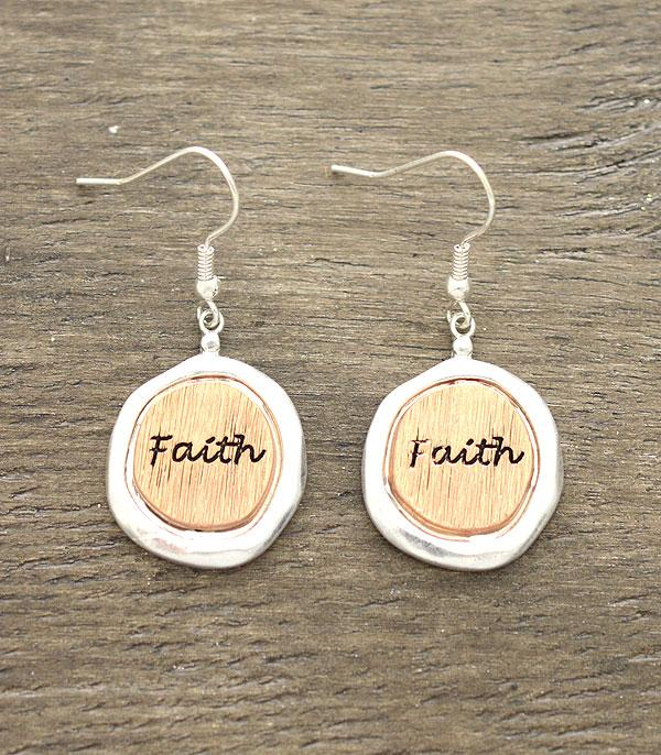 New Arrival :: Wholesale Inspirational Faith Silver Earrings