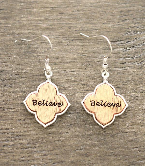 New Arrival :: Wholesale Inspirational Believe Earrings