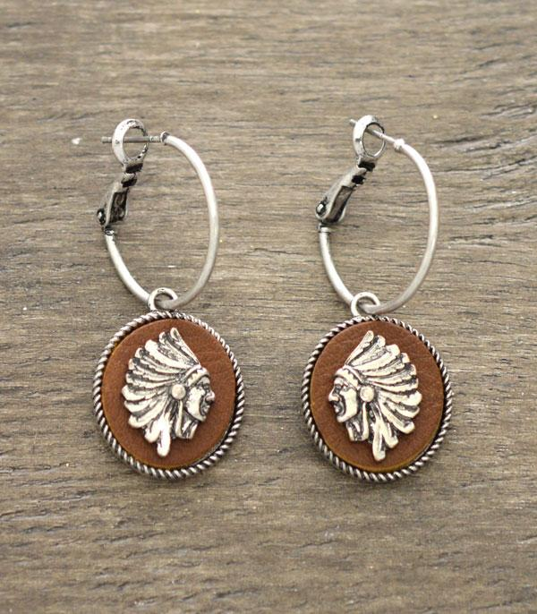 New Arrival :: Wholesale Indian Chief Head Leather Earrings