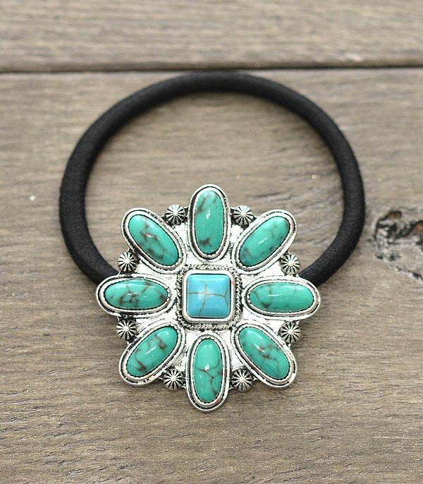 New Arrival :: Wholesale Western Turquoise Hair Tie