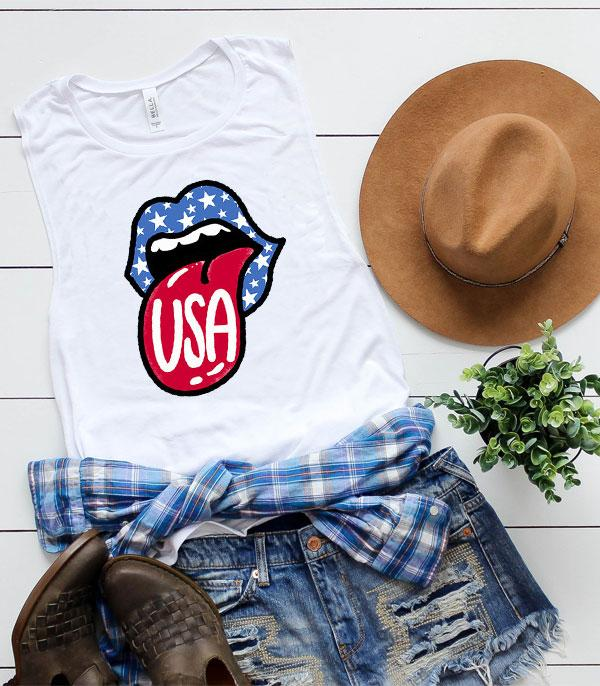 New Arrival :: Wholesale Western Vintage Patriotic Muscle Tank