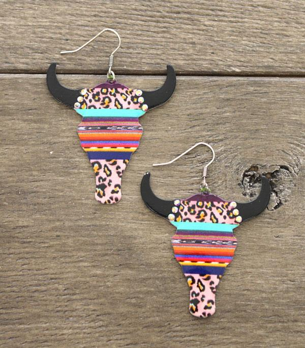 New Arrival :: Wholesale Western Steer Head Leopard Print Earring