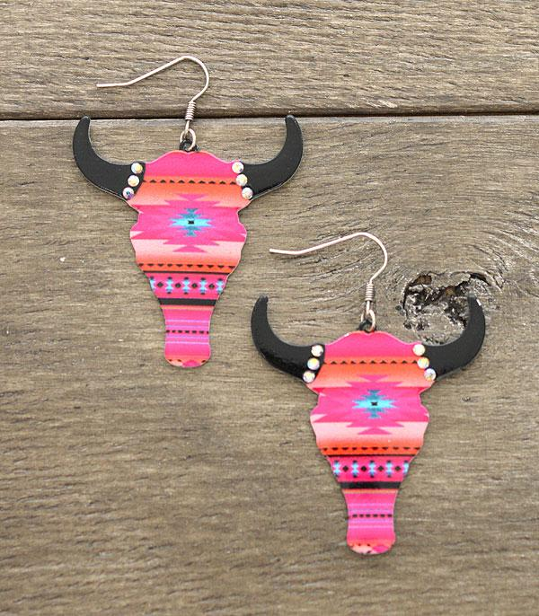 New Arrival :: Wholesale Western Aztec Steer Head Earrings