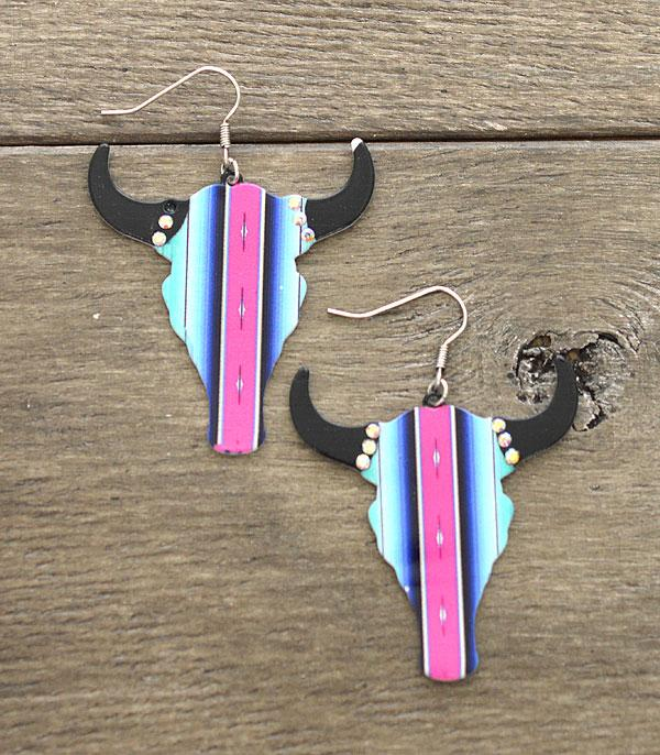 New Arrival :: Wholesale Western Serape Steer Head Earrings