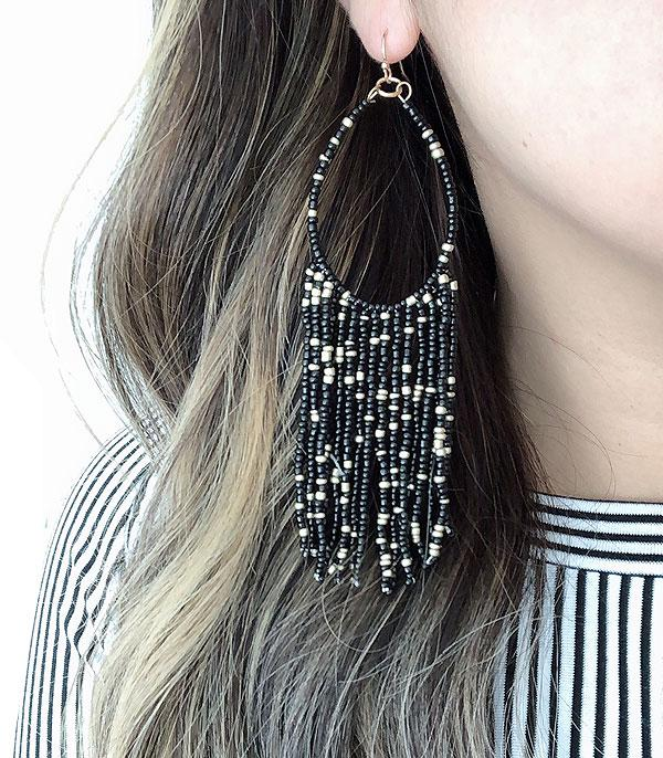 New Arrival :: Wholesale Native Seed Beaded Long Earrings