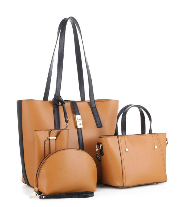 New Arrival :: Wholesale 4 In 1 Smooth Faux Leather Set Bag