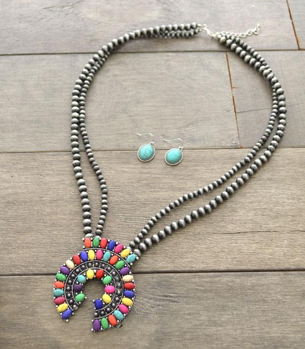 <font color=Turquoise>TURQUOISE JEWELRY</font> :: Wholesale Navajo Pearl Squash Blossom Necklace