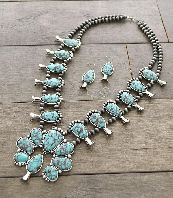 <font color=Turquoise>TURQUOISE JEWELRY</font> :: Wholesale Genuine Stone Squash Blossom Necklace Se