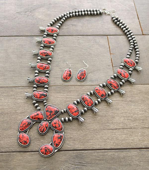 New Arrival :: Wholesale Genuine Stone Squash Blossom Necklace Se