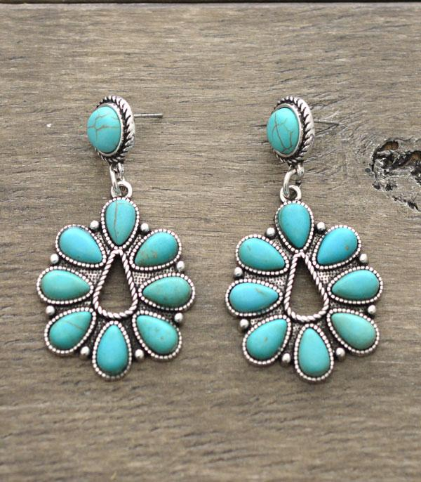 New Arrival :: Wholesale Western Turquoise Blossom Earrings