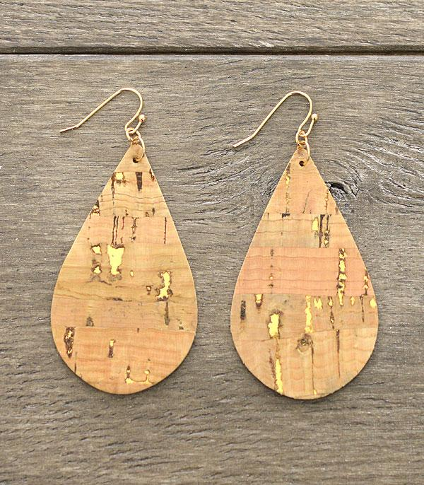 WHAT'S NEW :: Wholesale Tear Drop Cork Earrings