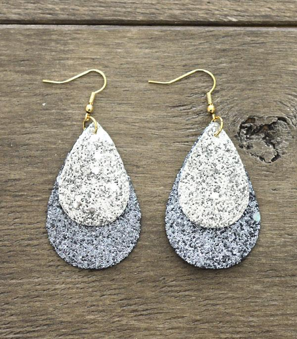 WHAT'S NEW :: Wholesale Glitter Leather Tear Drop Earrings