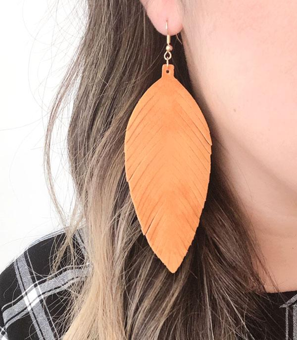 New Arrival :: Wholesale Suede Leather Leaf Earrings