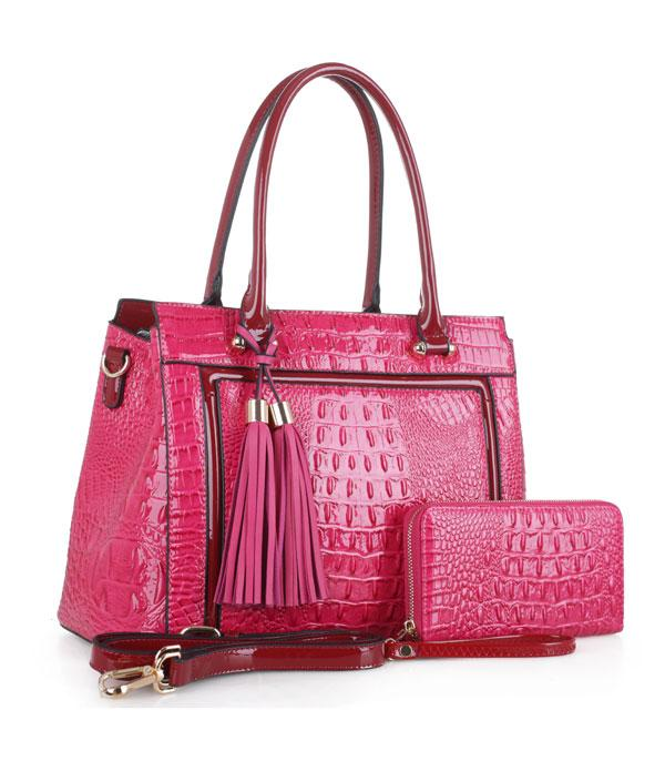 New Arrival :: Wholesale Crocodile Satchel Wallet Set Bag