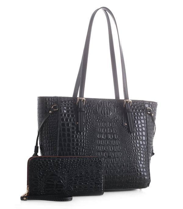 New Arrival :: Wholesale Crocodile Patent Faux Leather Tote Set