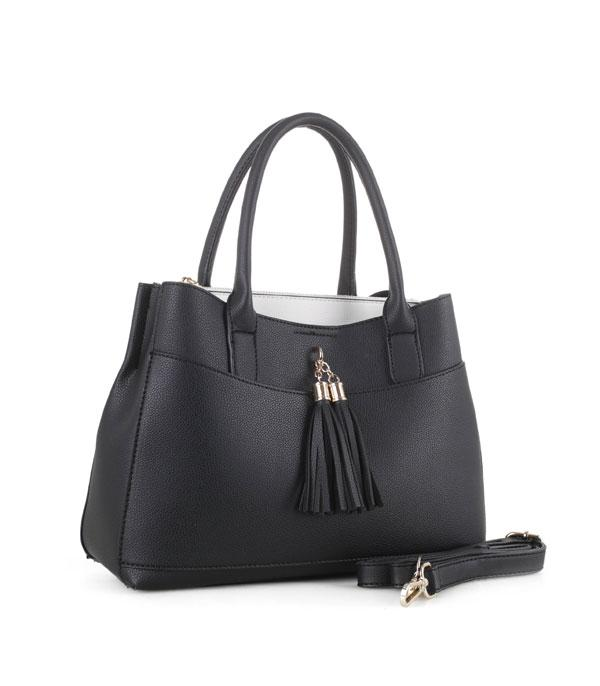 New Arrival :: Wholesale Tassel Accent Multi Compartment  Satchel