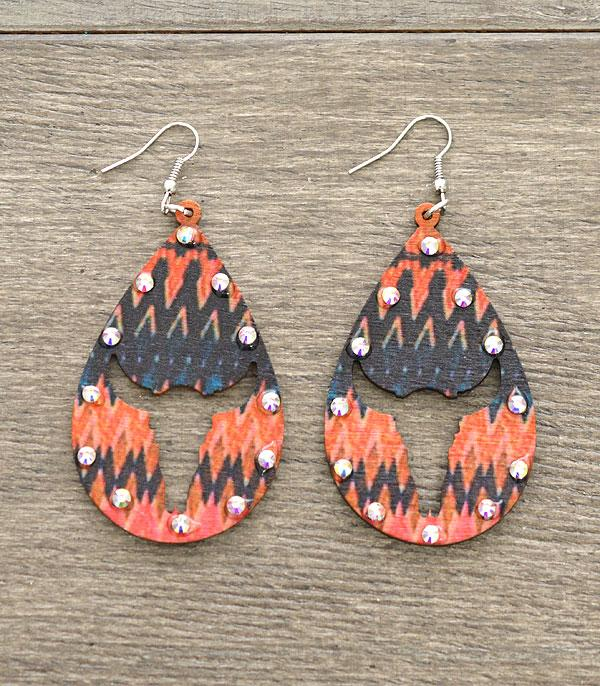 New Arrival :: Wholesale Wooden Longhorn Cut Out Earrings