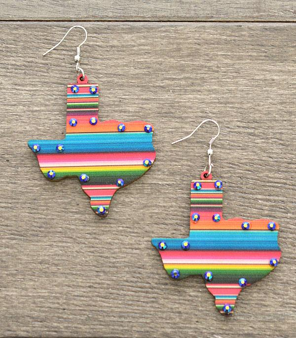 New Arrival :: Wholesale Wooden Serape Texas Map Earrings