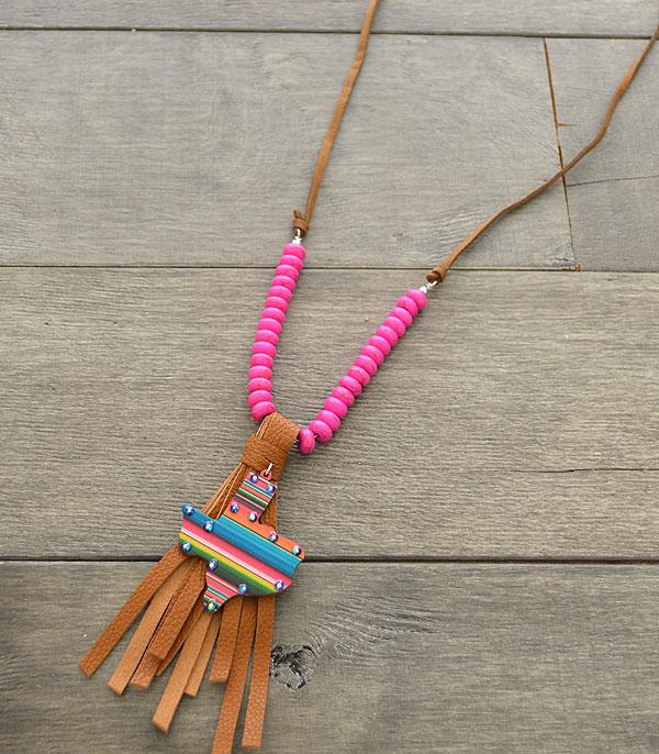 New Arrival :: Wholesale Wooden Serape Texas Map Necklace