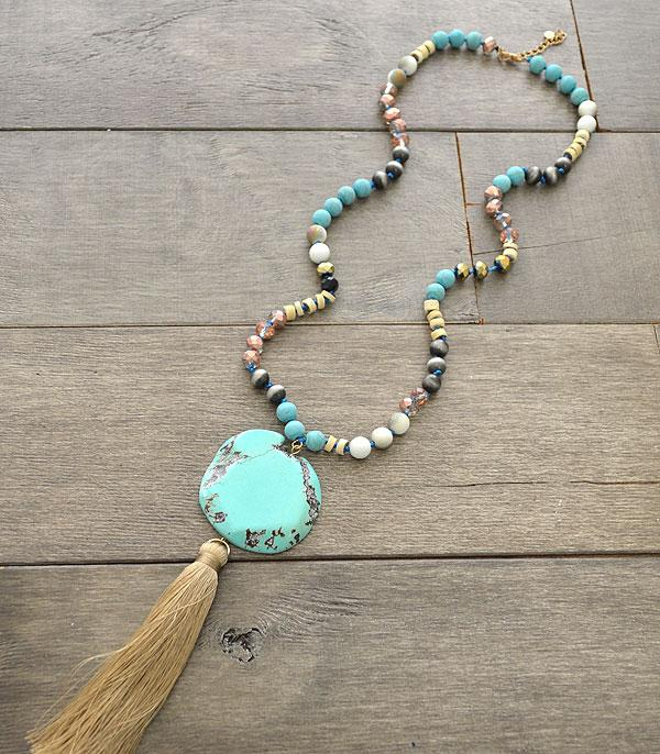 New Arrival :: Wholesale Turquoise Stone Tassel Necklace