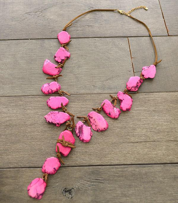 New Arrival :: Wholesale Pink Turquoise Stone Statement Necklace