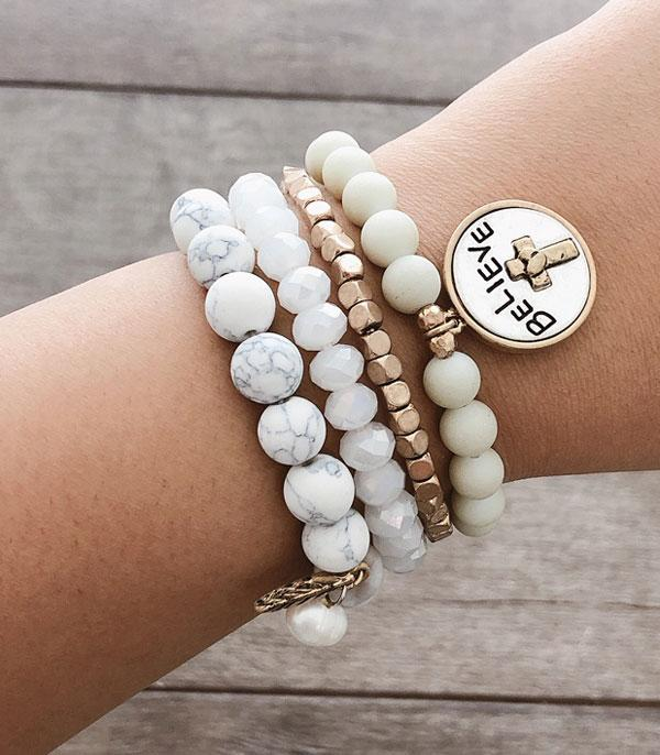 New Arrival :: Wholesale Inspirational Stacked Bead Bracelet Set