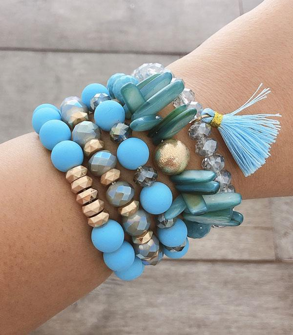 New Arrival :: Wholesale Stacked Shell Mix Bead Bracelets
