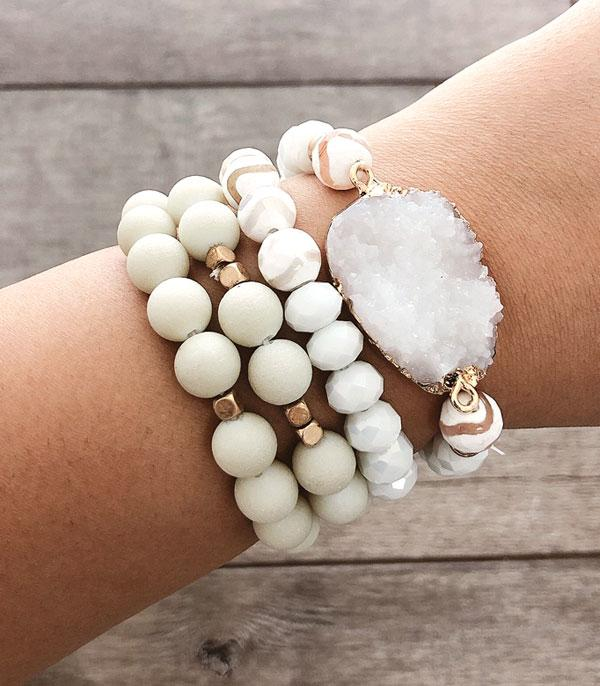 New Arrival :: Wholesale Druzy Stacked Bracelet Set