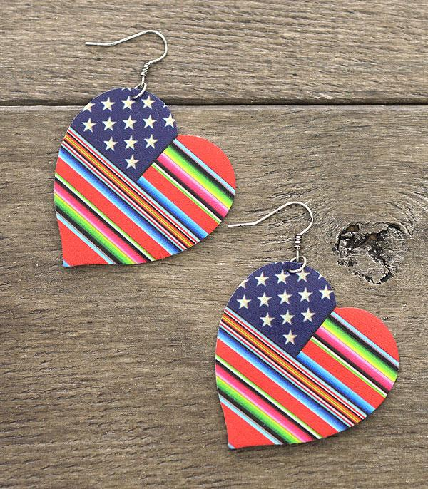 <font color=BLUE>RED,WHITE, AND BLUE</font> :: Wholesale Serape American Flag Leather Earrings