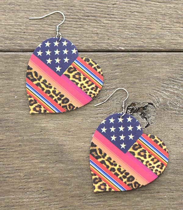 <font color=BLUE>RED,WHITE, AND BLUE</font> :: Wholesale American Flag Leopard Serape Earrings