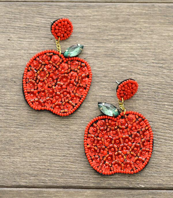 <font color=red>VALENTINE'S</font> :: Wholesale Seed Beaded Apple Earrings
