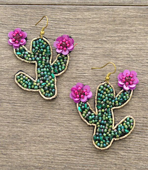 New Arrival :: Wholesale Seed Beaded Cactus Earrings