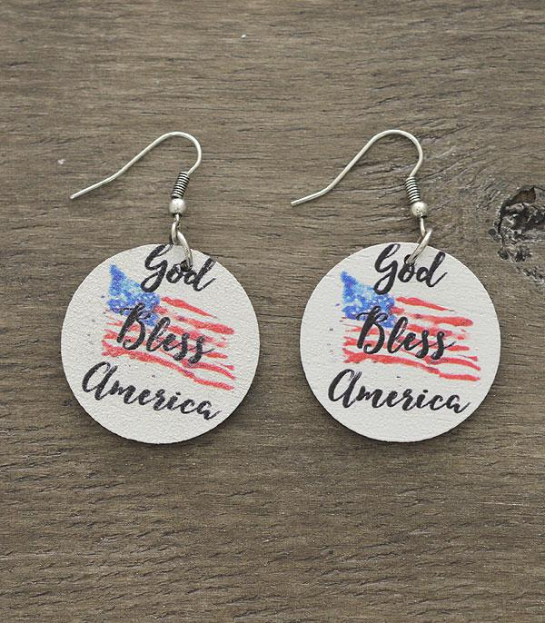 <font color=BLUE>RED,WHITE, AND BLUE</font> :: Wholesale Patriotic God Bless America Earrings