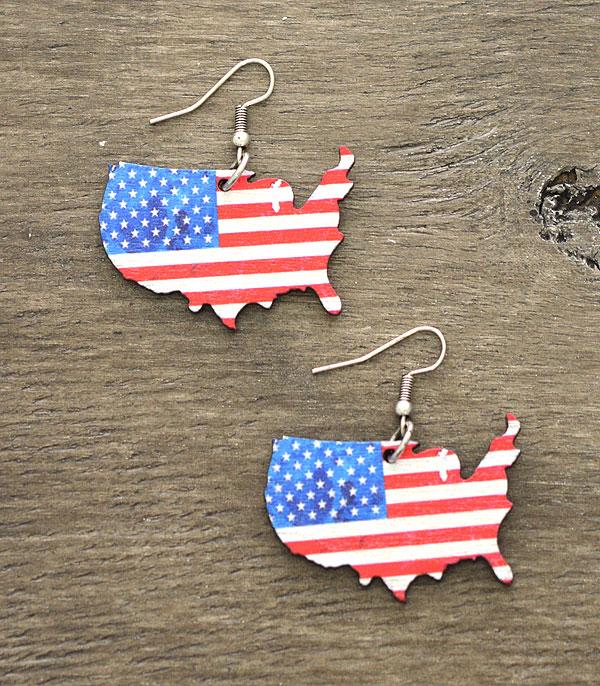 <font color=BLUE>RED,WHITE, AND BLUE</font> :: Wholesale USA Map Wooden Earrings
