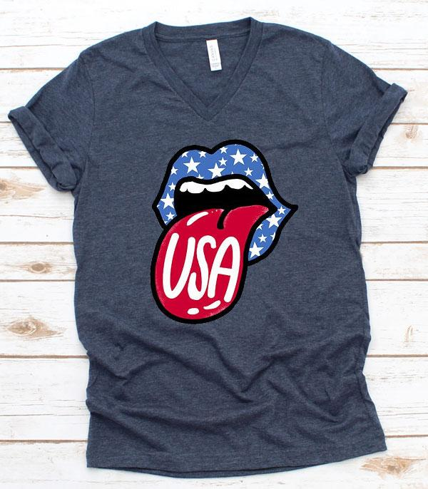 <font color=BLUE>RED,WHITE, AND BLUE</font> :: Wholesale Western Vintage Patriotic Lips TShirt