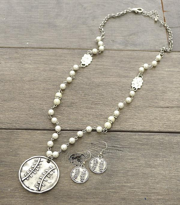 New Arrival :: Wholesale Baseball Pendant Pearl Necklace Set