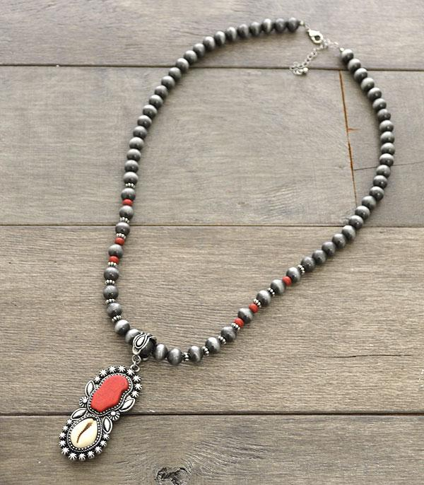 New Arrival :: Wholesale Western Cowry Shell Turquoise  Necklace