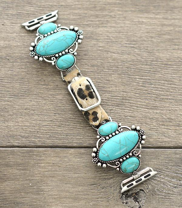 New Arrival :: Wholesale Turquoise Stone Leather Apple Watch Band