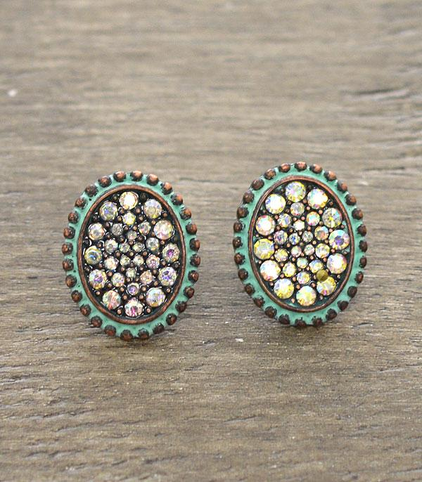 New Arrival :: Wholesale Rhinestone Oval Stud Earrings