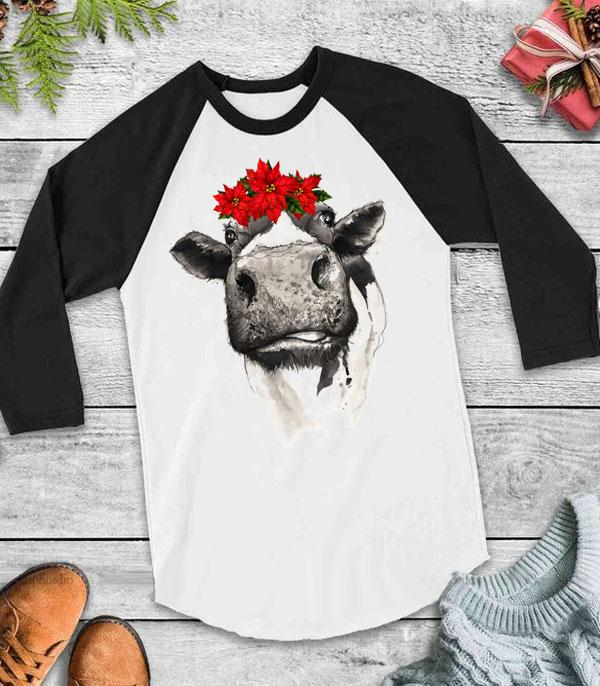 WHAT'S NEW :: Wholesale Western Vintage Cow Christmas Raglan