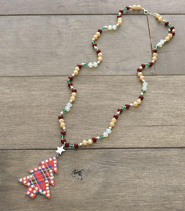 <font color=RED>SEASONAL</font> :: Wholesale Plaid Christmas Tree Bead Necklace