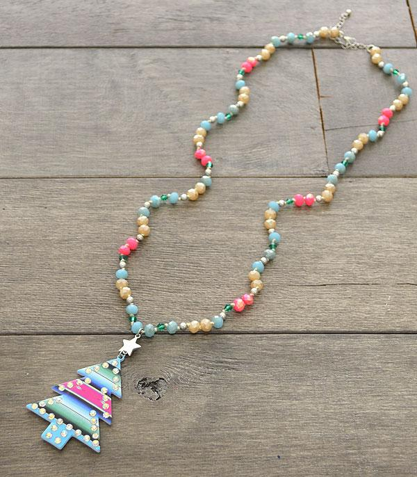 <font color=RED>SEASONAL</font> :: Wholesale Serape Christmas Tree Bead Necklace