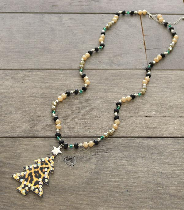 <font color=RED>SEASONAL</font> :: Wholesale Leopard Christmas Tree Bead Necklace