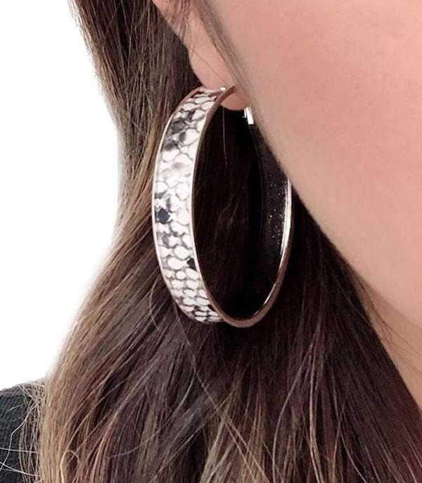 New Arrival :: Wholesale Snake Skin Print Hoop Earrings