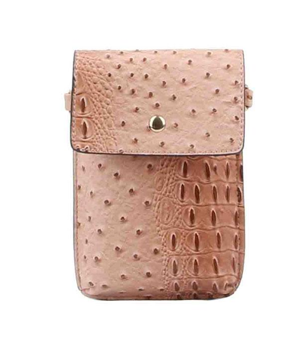 PHONE ACCESSORIES :: Wholesale Ostrich Croc Cellphone Crossbody Bag