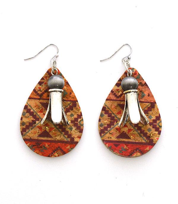 New Arrival :: Wholesale Aztec Squash Blossom Cork Earrings