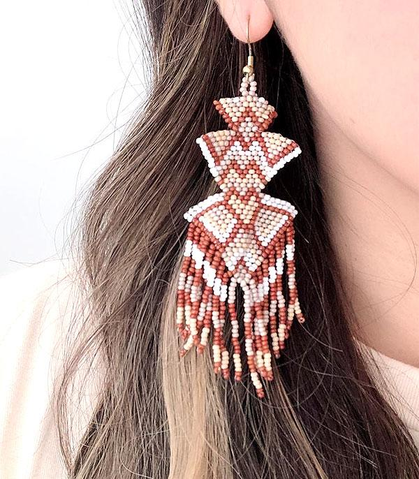 New Arrival :: Wholesale Aztec Seed Bead Fringe Earrings