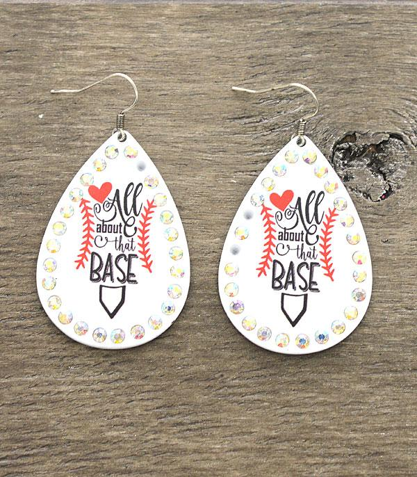 New Arrival :: Wholesale All About That Base Baseball Earrings