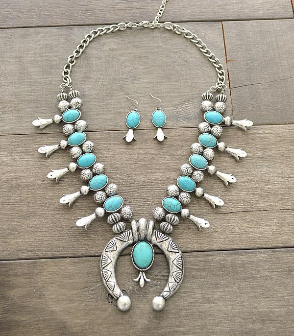 JEWELRY DISPLAYS :: Wholesale Turquoise Squash Blossom Necklace Set
